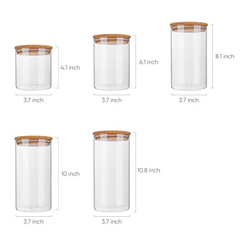Glass Food Storage Containers Set,Airtight Food Jars with Bamboo Wooden Lids - Set of 5 Kitchen Canisters For Sugar,Candy, Cookie, Rice and Spice Jars