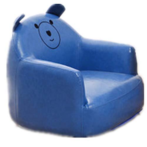 Sofá infantil colorido y duradero de piel sintética de una sola plaza, para niños, para sala de juegos, sala de estar, muebles de niños, muebles de niños (color azul, tamaño: 56 x 54 x 48 cm)