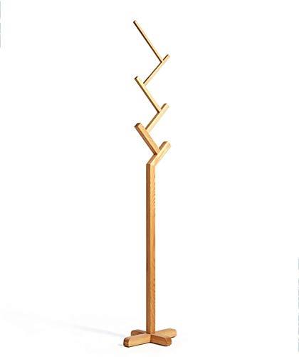 Kapstok Coat Hat Vloerstaande Rack 6 hangende positie/White Oak / 187cm, 3 kleuren beschikbaar Multi-Purpose hangers (Color : Wood Color)