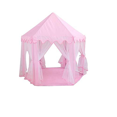 Tents Hexagon Playhouse, Pink Toy Kindergarten girl teepee Decorative Four Seasons Play for Indoor (Color : Pink, Size : 140 * 130CM)