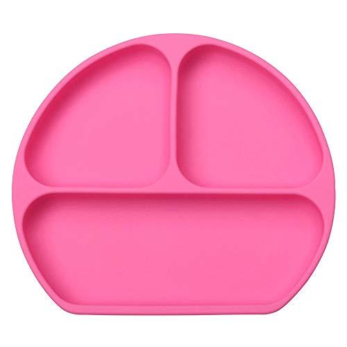 INTVN Plato de Silicona con Ventosa, 1 Piezas Rosa Reutilizable Vajilla Infantil...
