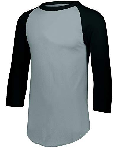 Augusta Sportswear Herren Baseball Jersey 2.0 Dreiviertel-Ärmel, Athletic Heather/Black, XXX-Large