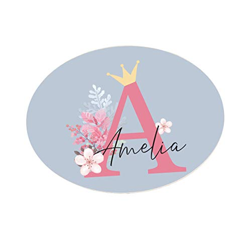Personalised Kids Bedroom Metal DOOR Plaque Sign, Floral Crown gifts for the home