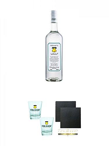 Freihofs WILLI Williams Birnen Schnaps 1,0 Liter + Freihofs WILLI Shot Glas 4cl 2 Stück + Schiefer Glasuntersetzer eckig ca. 9,5 cm Ø 2 Stück