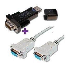 1x Digitus USB 2.0 RS 232 seriell Adapter mit USB Verlängerungskabel / Einsetzbar für PDA, Modems u.a. + 1x Null-Modem Anschlusskabel, DSUB, 9-pin, Buchse auf DSUB, 9-pin, Buchse , 1,8 m, beige