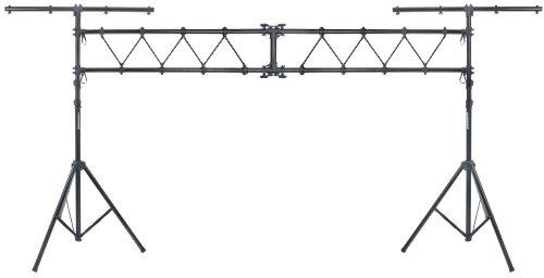 Showlite LTS-100 Traversen System (2x T-Bar Ständer 2x Quertraverse, Höhenverstellbar von 1,50m - 3,00m, Belastbar bis 75kg) schwarz