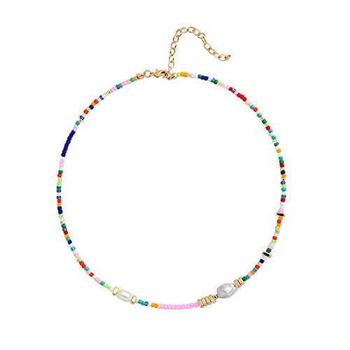 Wellike Freshwater Pearl Beaded Necklace for Women Handmade Boho Colorful Glass Beads Choker Necklace Stainless Steel 18K Gold Plated Bohemian Women Summer Jewelry Neck Accessories