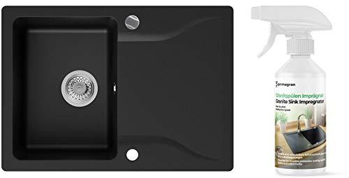 Granitspüle Graphit 70 x 50 cm, Spülbecken + Siphon Automatisch, Küchenspüle ab 45er Unterschrank in 5 Farben mit Siphon und Antibakterielle Varianten, Einbauspüle von Primagran