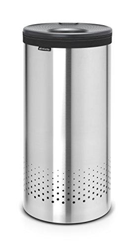 Brabantia - Cesto para Ropa, 35 l, Tapa de plástico Gris, Cuerpo Acero Mate