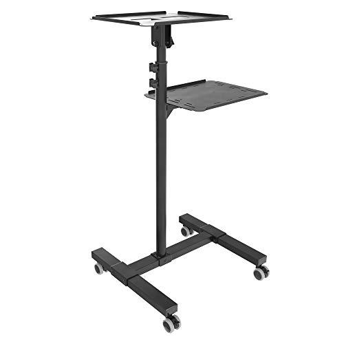 RICOO CZ0800, Beamer-Ständer mit Rollen, Mobil, Rollbar, Neigbar, Projektor-Ständer, Roll-Wagen, Stand-Fuß, Laptop-Tisch, mit Regal, Schwarz