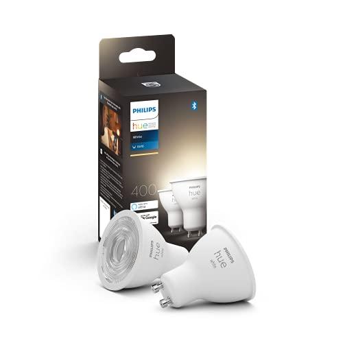 Philips Hue White 2 Faretti LED Smart, con Bluetooth, Attacco GU10, 5 W, Dimmerabile, Luce Bianca Calda, 2 Pezzi, Bianco