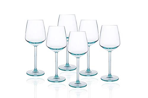 14-ounce Unbreakable Plastic Acrylic Stem Wine Glasses set of 6-Teal Red or White Wine Glass Dishwasher Safe BPA Free