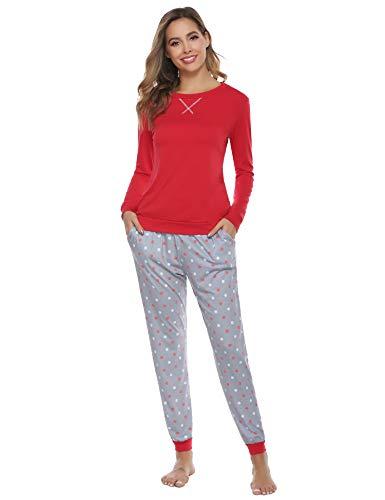 Hawiton Pigiama Donna Cotone Lungo Invernale, Morbido Caldo 2 Pezzi Manica Lunga Maglia Pullover e Pantaloni a Pois ondulati,Rosso,L