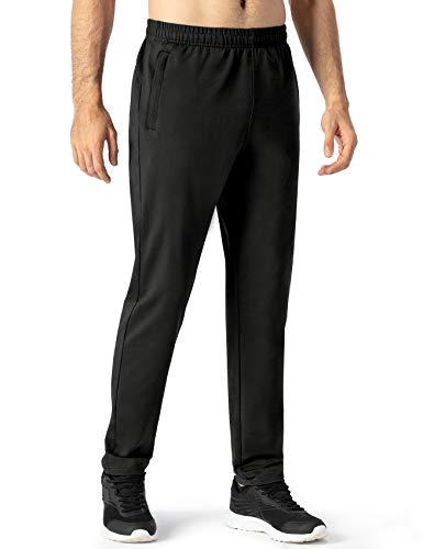 NAVISKIN Herren Jogginghose atmungsaktiv Trainingshose Baumwollmischung Laufhose mit Kordelzug und Reißverschlusstaschen Schmal zulaufende Beinform Schwarz Größe M