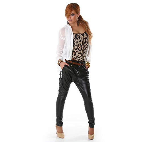 Blue Rags Lederhose Leggings Treggings schwarz Pumphosen Design mit Gürtel 40 42