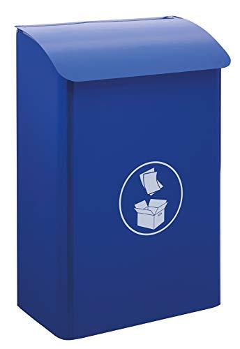 Arregui E6116 Papelera Mural de Acero para interiores y zonas comunes, papelera de pared, 30 L, azul, reciclaje de papel y cartón