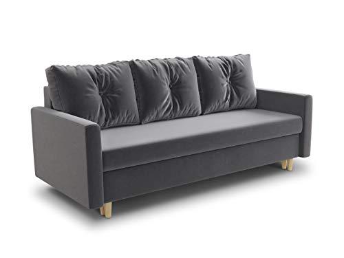 Schlafsofa Rico - Couch mit Schlaffunktion Sofa mit Bettkasten Bettfunktion Bettsofa Skandinavisch Polstergarnitur Bonell-Ferderkern Velours (Grau (Kronos 22))