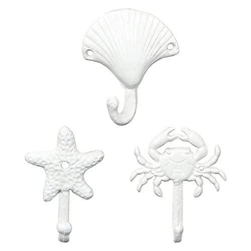 3 piezas Ganchos de Pared de Hierro Ganchos en Forma de Concha Estrella del Mar Cangrejo Ganchos Náuticos para Decoración de Hogar Dormitorio Baño