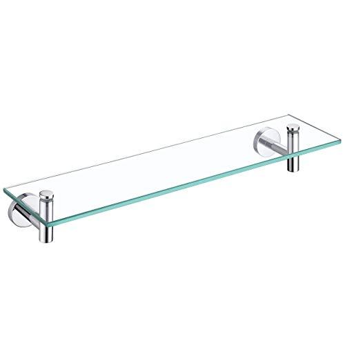 KES Estanteria Baño Estanteria Ducha Cristal 8MM Grueso Cristal Templado Estante Vidrio Baño Pared 50CM con Soporte de Acero Inoxidable SUS304 Acabado Pulido, A2021