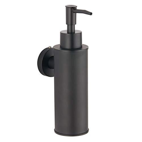 bgl Dispensador de jabón de acero inoxidable 304 montado en la pared para decoración (redondo, negro)