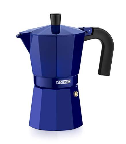 Monix M301706 M301706-Cafetera Italiana, 6 Tazas, Color Cobalto, Aluminio, 10 cm
