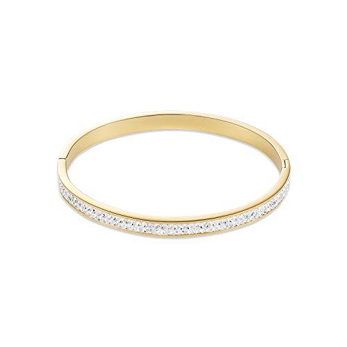 Armband Jonc Coeur de Lion Acier doré cristaux Blancs