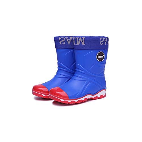 XULONG Kinder-Regenstiefel mit warm gefütterten, leichten Gummistiefeln, abnehmbarem Baumwollfutter, rutschfest und Abriebfest, PVC-Oberfläche, für Jungen und Mädchen,Blau,28