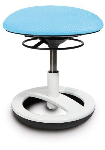 Topstar SU83BT6 Sitzhocker Sitness Bobby für Kinder, Standfußring Alu weiß lackiert, Stoff, Aquarius blau
