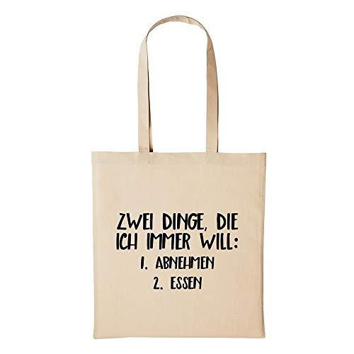 Hellweg Druckerei Jutebeutel Zwei Dinge ich Will Abnehmen Essen Geschenk-Idee für Damen und Herren Tasche Baumwolle für Freunde und Familie