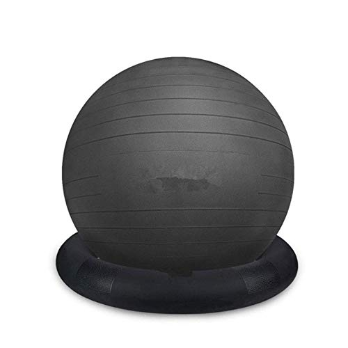 ZLSP-F Yoga Ball, Sports Ball Chair, Stable Yoga Balance Ball, with Inflatable Ring Base, Pump, Home, Office, Pose, Black F (Size : 55CM)