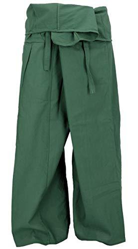 Guru-Shop Thai Fischerhose aus Baumwolle, Wickelhose, Yogahose, Herren/Damen, L/XL Olive, Size:One Size, Fischerhosen & Yogahosen Alternative Bekleidung