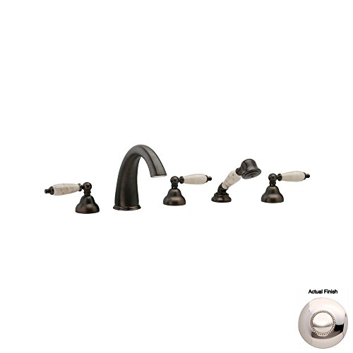 Best Review Of Phylrich K2158DT1_014 - Carrara Deck Mounted Tub Set W/Hand Shower, Beige Marble Leve...