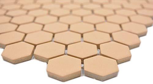 Keramische mozaïek hexagon okeroranje R10B douchebak vloertegel mozaïektegel keuken badkamer vloer MOS11H-1208-R10_m