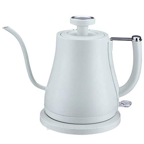 Café en acier inoxydable électrique goutte à goutte col de cygne bouilloire avec thermomètre théière bouilloire bouilloire thé haute qualité bouteille 220v (Color : White)