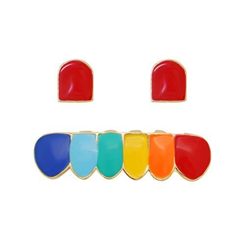 Geef nooit op Hip-hop kleurrijke beugels Twee tanden combinatie beugels Echt goud hip-hop beugels
