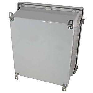 Altelix 14x12x6 NEMA 4x FRP Fiberglass Weatherproof Enclosure with Aluminum Equipment Mounting Plate, Hinged Lid & Stainless Steel Latches