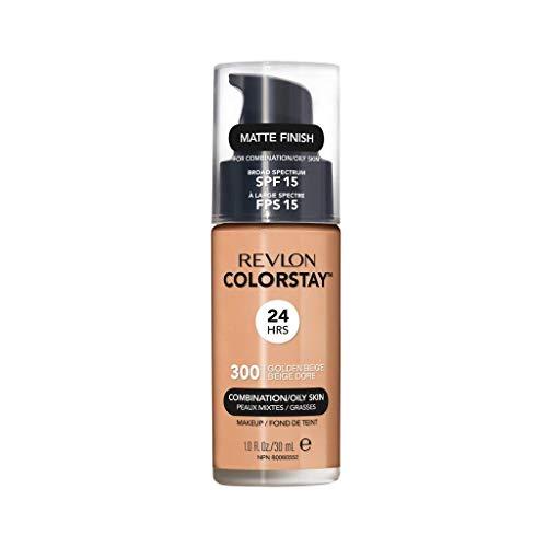 Revlon ColorStay Makeup for Combination/Oily Skin SPF 15, Longwear Liquid Foundation, with Medium-Full Coverage, Matte Finish, Oil Free, 300 Golden Beige, 1.0 oz