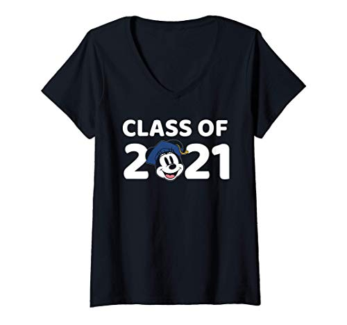Femme Disney Minnie Mouse Class of 2021 T-Shirt avec Col en V