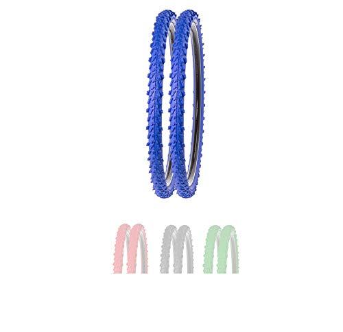 P4B | 2X 24 Zoll MTB Fahrradreifen in Blau (50-507) | Sehr guter Grip in Allen Situationen | Hohe Laufruhe | 24 x 1.95 | Für Mountainbike | 24 Zoll Fahrrad Mantel