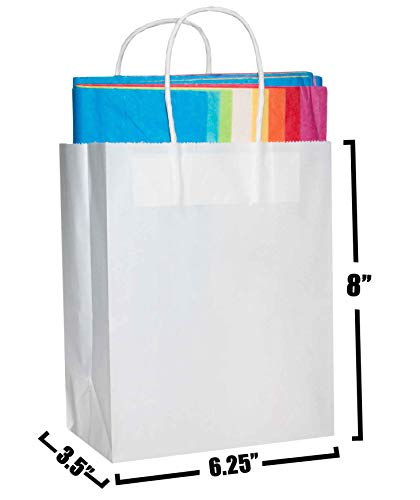 [50 Bags] 6.25 X 3.5 X 8 White Kraft Paper Gift Bags with Handles Bulks. Ideal for Shopping, Packaging, Retail, Party, Craft, Gifts, Wedding, Recycled, Business, Goody and Merchandise Bag (White)