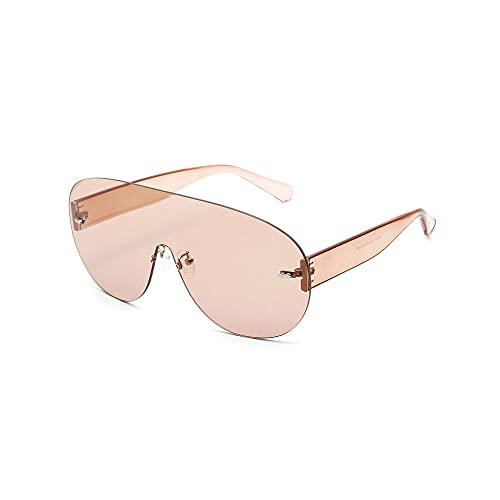 Gafas de Sol Personalidad Forma Redonda Sin Marco Lentes de Colores de Gran TamañO Unisex -C