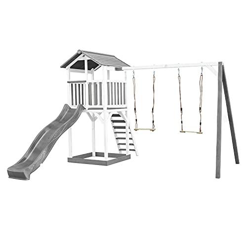 AXI Beach Tower Spielturm aus Holz in Weiß & Grau   Spielhaus für Kinder mit Grauer Rutsche, Doppelschaukel und Sandkasten   Stelzenhaus für den Garten