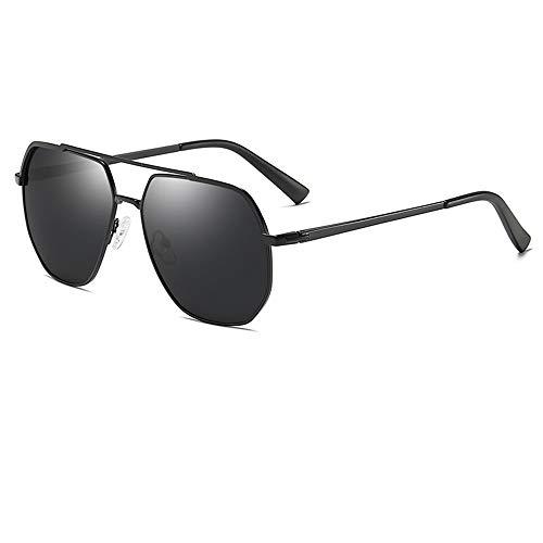 XFSE Gafas de sol polarizadas para hombre, para conducción al aire libre, estilo retro, marco polígono, lentes grises, protección UV400 (color: negro)
