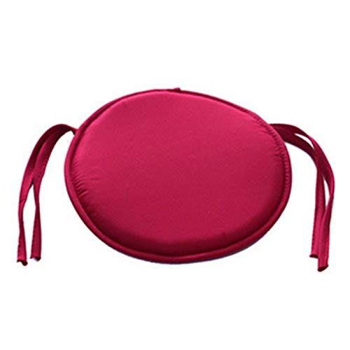 GeKLok Rundes Sitzkissen mit Bindebändern, abnehmbarer Bezug für Hocker, Sofas, Bistro, Zuhause, zum Anbinden, rund, dunkelrot, Größe: 38 x 38 cm