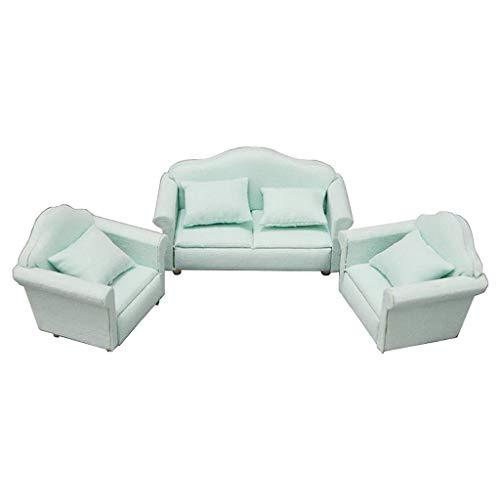 Generic 1/12 Skala Miniatur Puppenhaus Liebe Sitz Sofa Sessel, Puppen Haus Möbel Couch, Weiß und Rot Überprüfen Muster