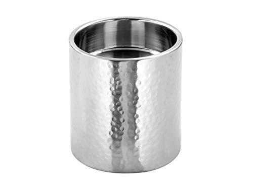 Fink - SOBRIO - Stumpenhalter - Kerzenhalter - Edelstahl, gehämmert - Matt - Ø 10 - Höhe 11 cm