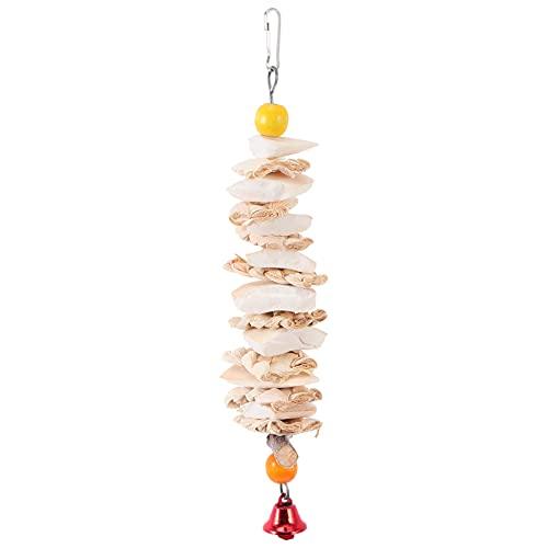Hemobllo Bird Cuttlebone Cuttlefish Bones Hanging Toy with Bell for Snail Bird Parrot Small Animals Grinding Birds Beak and Calcium Supplement