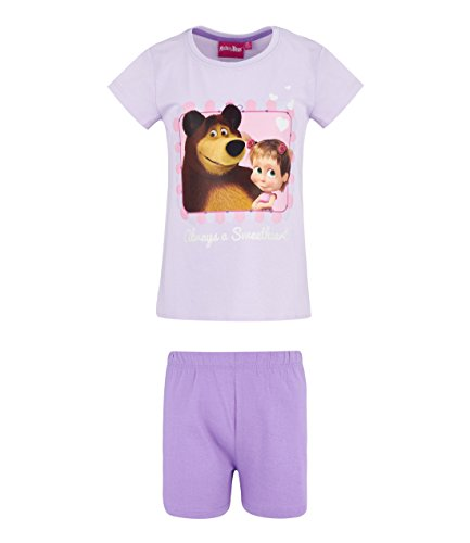 Mascha und der Bär Mädchen Shorty-Pyjama - lila - 128