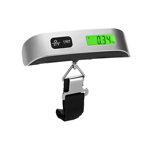 Digital Balanza Báscula de Equipaje Escala del Equipaje Pesa Maletas Pantalla LCD Retroiluminada Báscula para Viajes Al Aire Libre 110 lb/50 kg