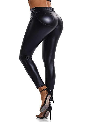 FITTOO Modische Damen Faux PU Leder Leggins Hohe Taille Hüfthoch Strumpfhose Hose, Schwarz, S